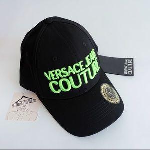 ⭕️ VERSACE JEANS Cap Hat Black Neon Green Logo